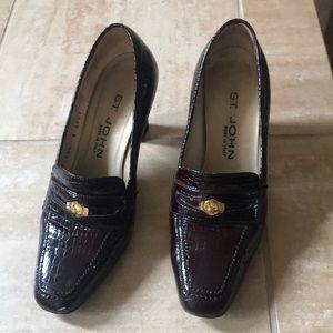 St. John Brown Patent Leather, gold trim/heels.